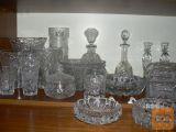 kristal kozarci, sklede, svečniki, steklenice, pepelniki