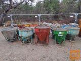 Rabljene posode za beton s centralnim izlivom, 250L - 600L